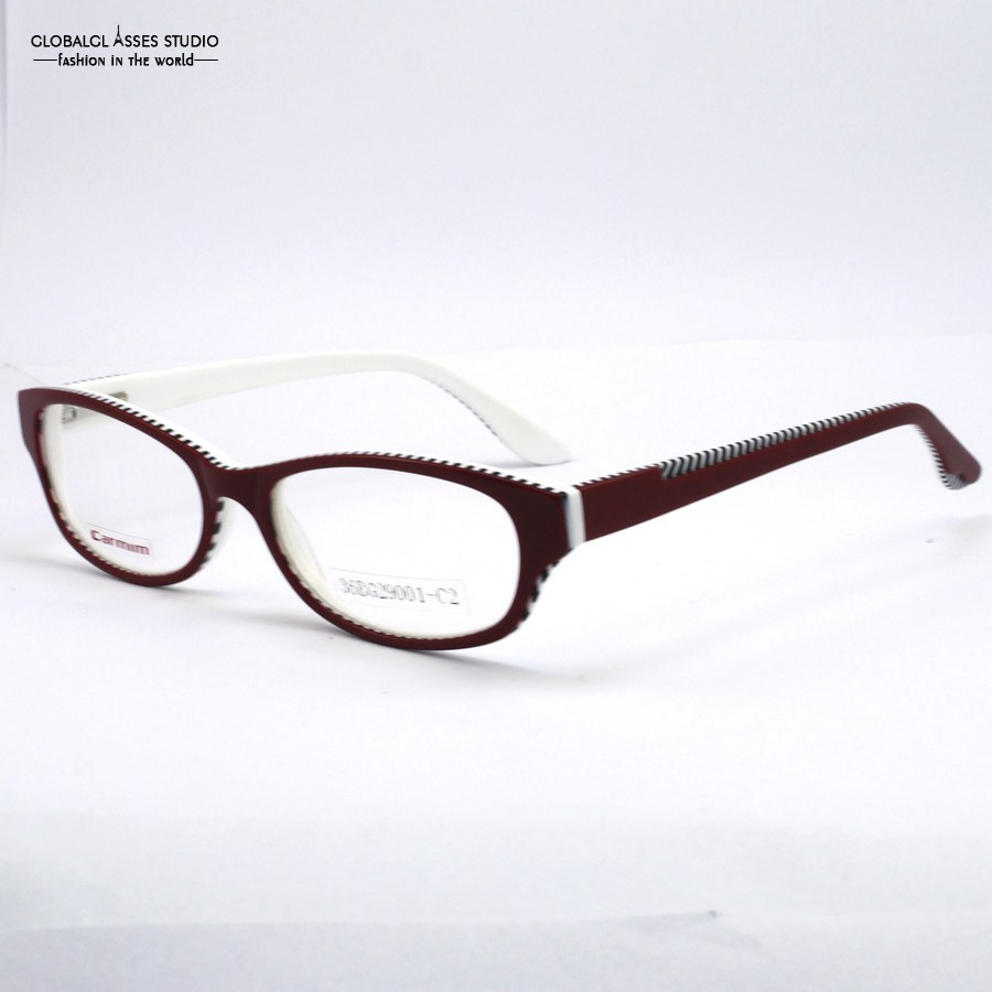 Female Red outside White inside Frame With White Black Striped DesignTemple Glasses Multicolored Whole frame Eyewear