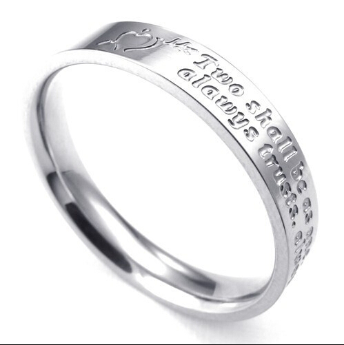 Fashion lady titanium steel ring personality female heart-shaped letters couple - NON-Profit Foreign Trade Co, LTD. store