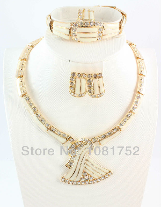 Free Shipping New Arrival 4pcs costume Jewelry Sets High Quality African Gold Plated Jewelry Set(China (Mainland))