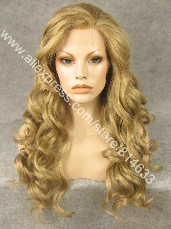 S07 Free shipping 24 Long Lace Front Heat Resistant Synthetic Hair Ash Blonde Wig<br><br>Aliexpress