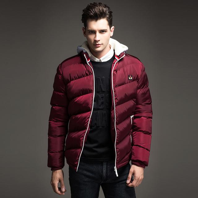 Бесплатная доставка 2015 новых прибыть зимние мужские куртки и пальто ватки с капюшоном ...