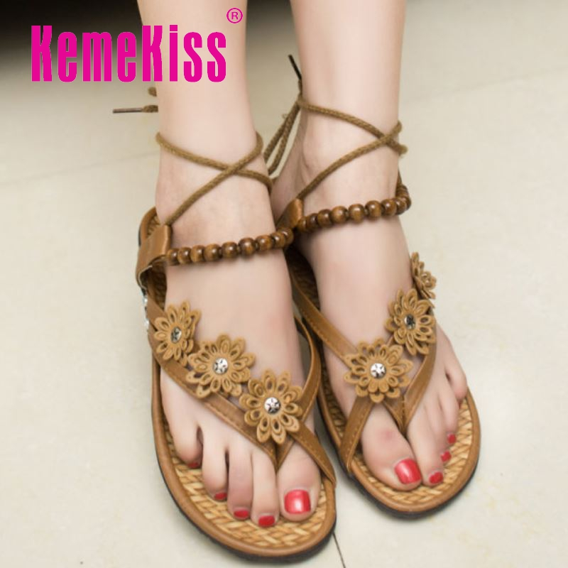 woman bohemia beading ankle wrap girl quality flats sandals brand sexy fashion lady flower pinch toe footwear size 36-40 WC0053<br><br>Aliexpress