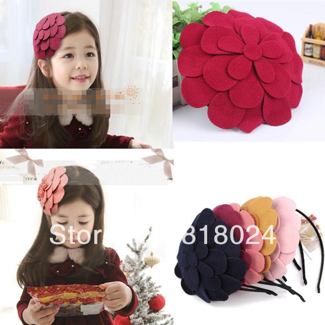 1 пк 10 цветов большой войлок цветок девочки-младенцы волос аксессуары дети резинки для волос волос бантики повязка на голову