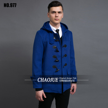 XXXL Male design short mens duffle coat 2016 spring nice casual hooded horn button woolen jacket for men blue loden coat gifts(China (Mainland))