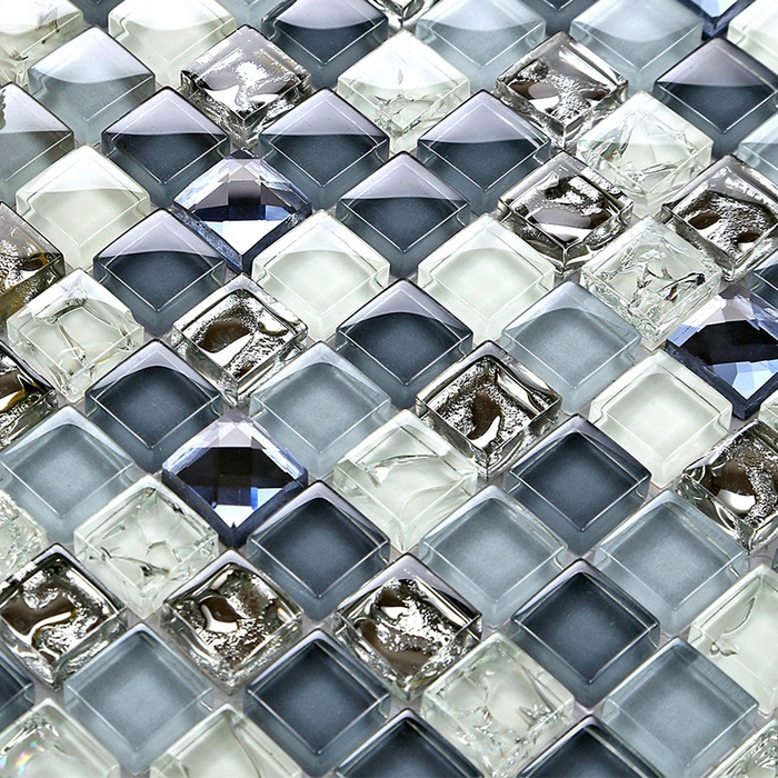 Mini 15 15mm deep ice crackle blue color crystal glass for Blue crackle glass bathroom accessories