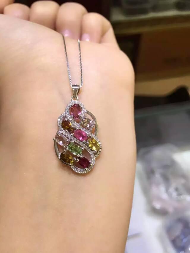 Retro Elegant  irregular natural Multicolor tourmaline pendant 925 sterling silver natural gem stone pendant  women jewelry<br>