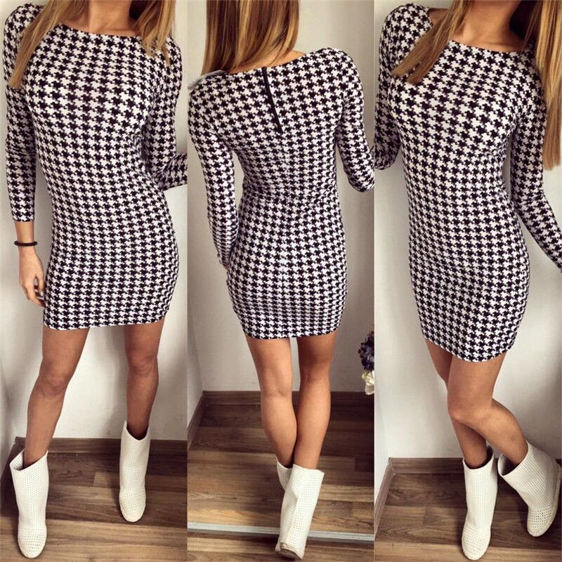 2016 Womens Elegant Colorblock Patchwork font b Tartan b font Check Plaid Wear to Work Business