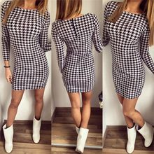 2016 Womens Elegant Colorblock Patchwork Tartan Check Plaid Wear to Work Business OL Party Bodycon Stretch Dress