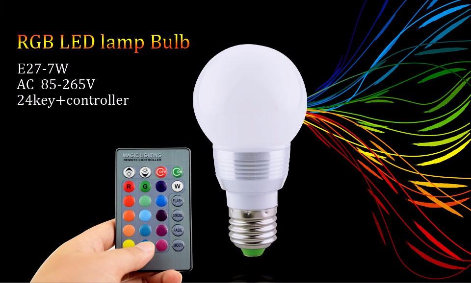 E27 RGB Lampada LED Bulb E27 85 265V RGB LED LampSpotlight Lamparas 5W   eBay -> Lampada Led Rgb