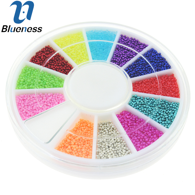 12 Colors Wheel Nail Art Tools Magic Candy Color Design Caviar Beads Manicure Microbeads Decorations ZP224(China (Mainland))