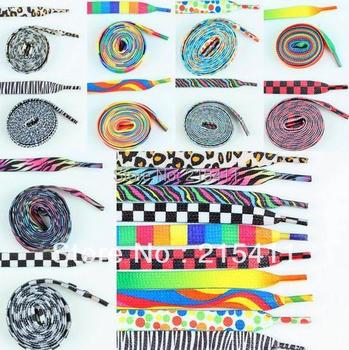 1Lot (10Pairs) Flat Coloured Pattern Leopard Zebra Rainbow Shoes Boot Laces Shoelaces Bootlaces