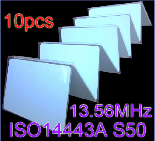 10pcs/Lot RFID Card 13.56Mhz ISO14443A MF S50 Re-writable Proximity Smart Card NFC Card 0.8mm Thin For Access Control System