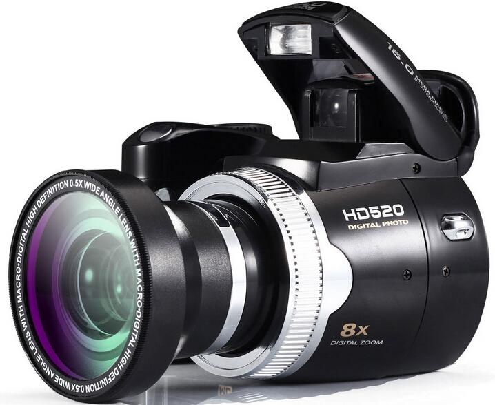 POLO HD520 DSLR digital Camera 16MP CMOS Sensor 2.5'' color LTPS LCD screen HD 720P Video camcorder Wide Angle Lens(China (Mainland))