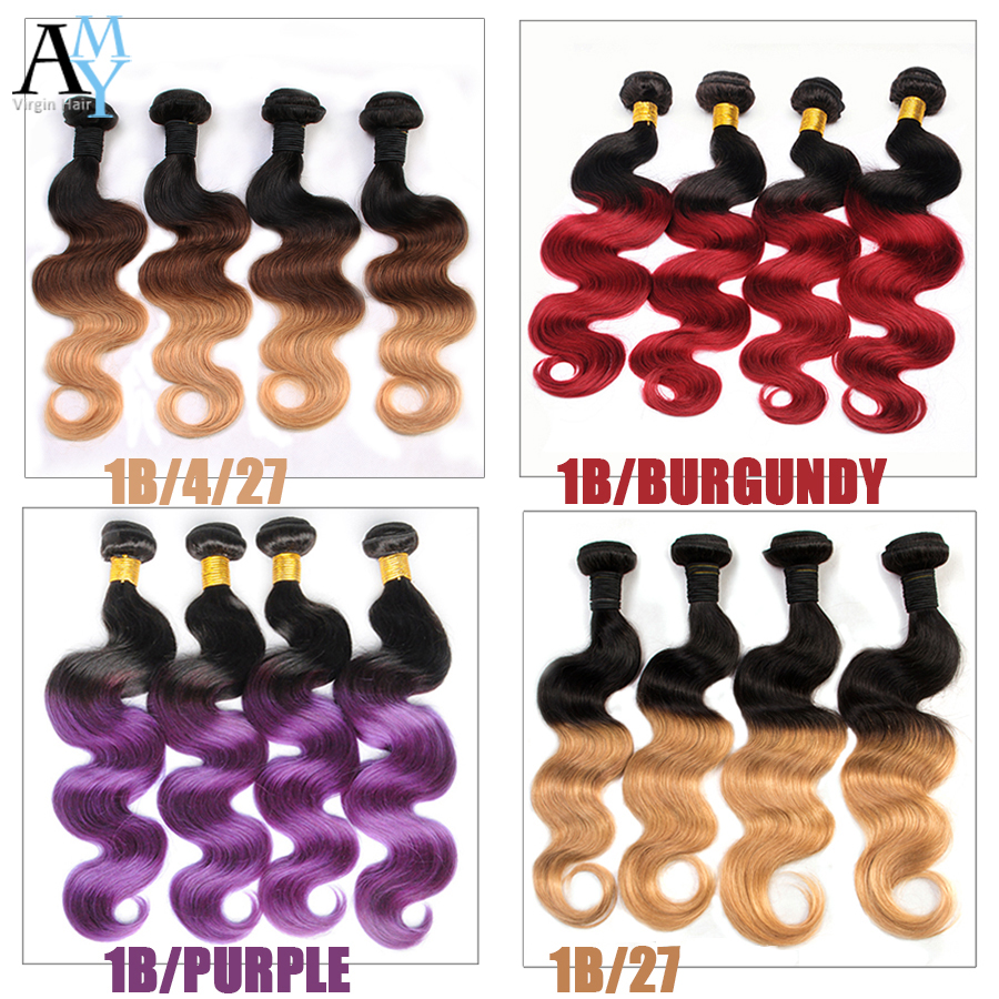 2 Tone Weave Ombre Brazilian Body Wave 1B/4/27 Ombre Brazilian Hair 4 Bundles Ombre Human Hair Extensions(China (Mainland))