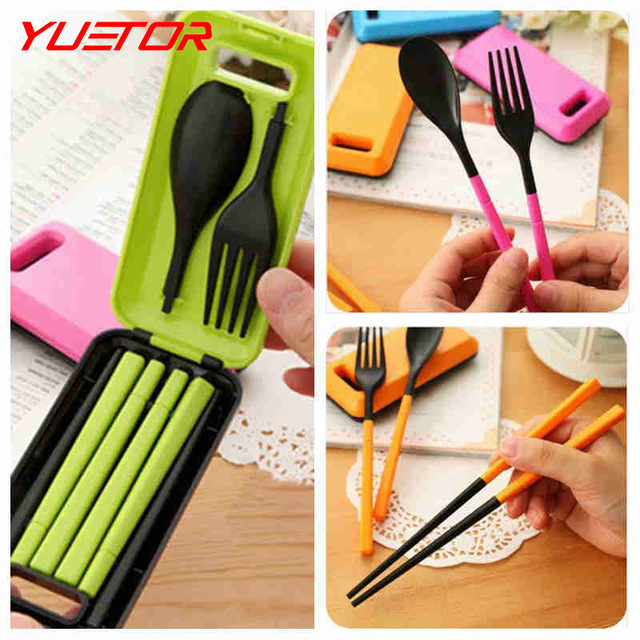 Brand Yuetor outdoor tablewares food grade camping cutlery knife fork spoon multi tool picnic Protable Tableware Eco-friendly(China (Mainland))