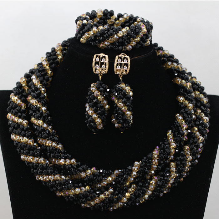 2016 Nigerian Beads Jewelry Black Women Wedding Beads Necklace Fashion Crystal Braid African Costume Sets Free Shipping ABK112<br><br>Aliexpress