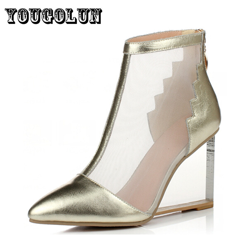 Фотография 2016 new sexy cow genuine leahter gold sliver women wedding shoes woman wedges high heels sandals ladies summer boots sandal