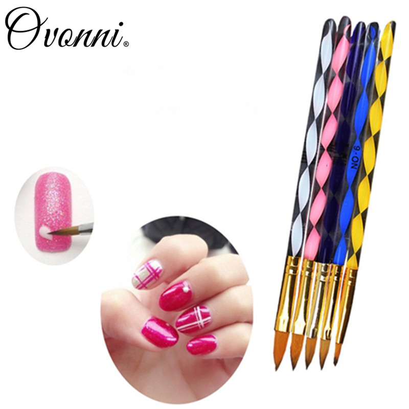 5 PCS / SET Professional Nail Art Brushes Nail Tools Set Different Sizes Multicolor Acrylic UV Gel Builder Drawing Tools(China (Mainland))