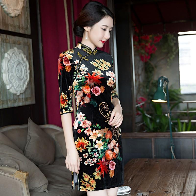สีดำวินเทจสตรีกำมะหยี่สั้นCheongsamจีนแฟชั่นสไตล์การแต่งกายที่สวยงามQipaoขนาดSml XL XXL XXXL F101025 ถูก