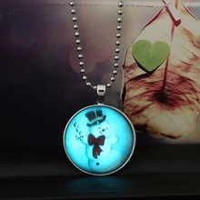 New Arrival Steampunk Necklaces for women Cute Snowman Glow In The Dark Glowing Pendant Necklace Jewelry
