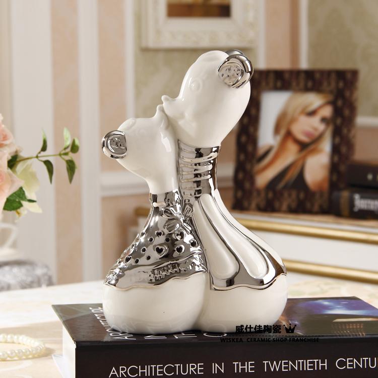 Brief modern ceramic animal home decoration accessories lovers civets desktop decoration(China (Mainland))