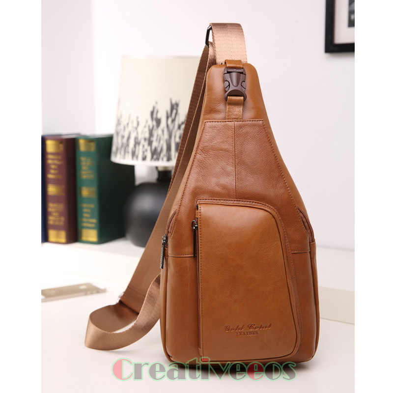 2015 New Men Cowhide Oil Wax Geunine Leather Travel Hiking Riding Messenger Shoulder Sling Back pack Chest Bag(China (Mainland))