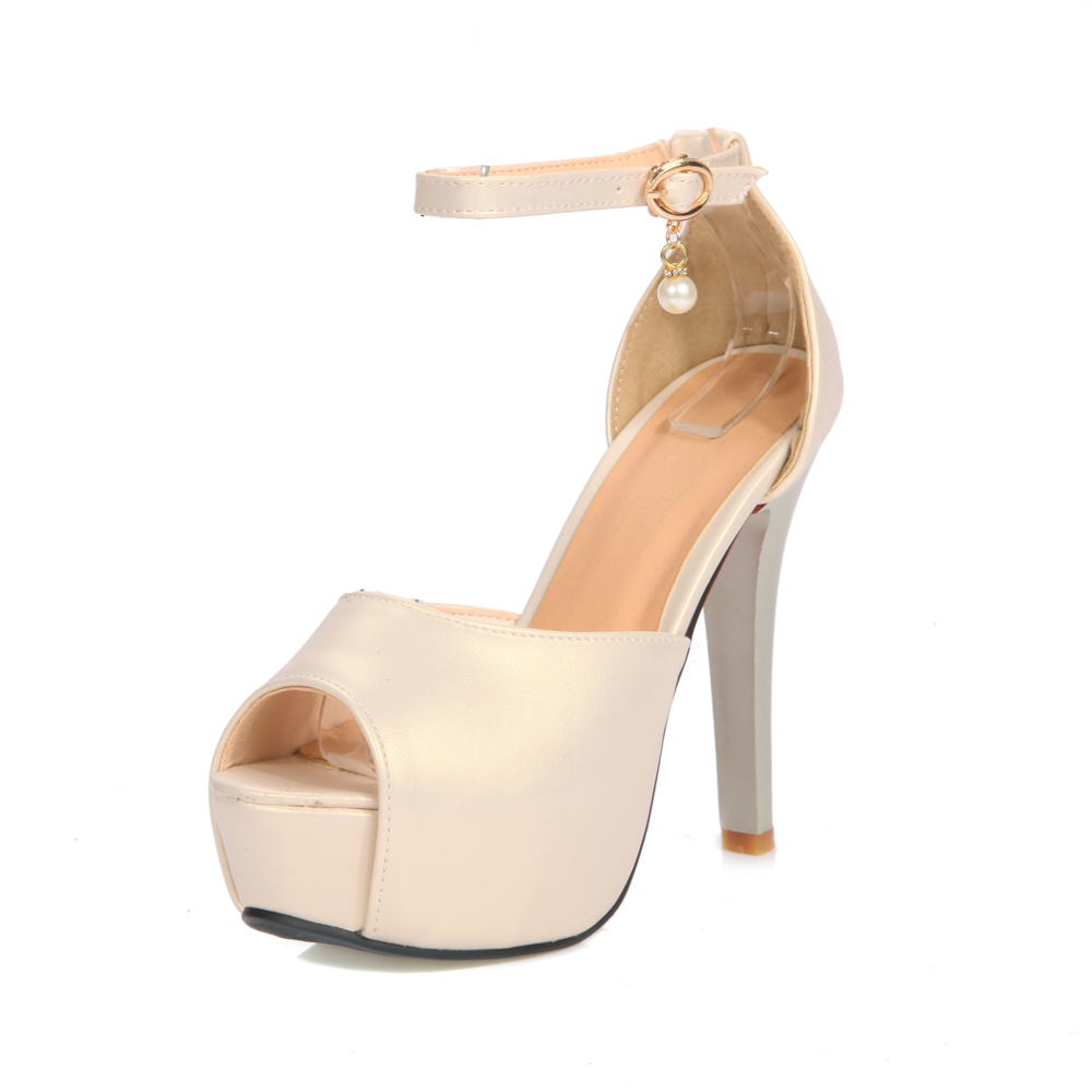 2016 Summer Ankle Strap Buckle Women Sandals peep Toe Thin High Heeled Female Pumps Sexy  Ladies Single Shoes