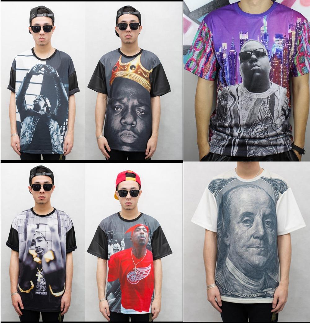 2015 New men t-shirts 3D funny print rockstar Kanye/Biggie/2Pac Tupac Shakur novelty tee shirt rock hip hop t shirts tops male(China (Mainland))