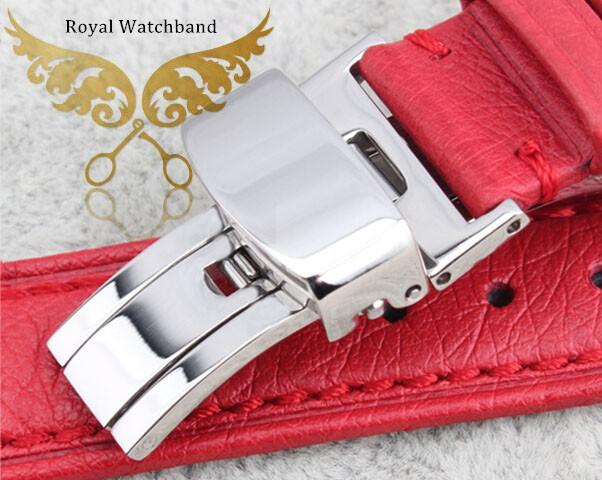 100% из натуральной кожи страуса кожи ремешки ремешок браслеты серебряный развертывания часы пряжка бесплатная доставка