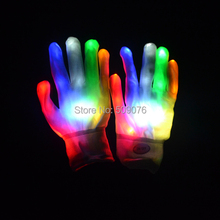 Free shipping 7Modes Magic white glove Rainbow Flash Fingertip LED Gloves Unisex Light Up Glow Stick Gloves Mittens Hot(China (Mainland))