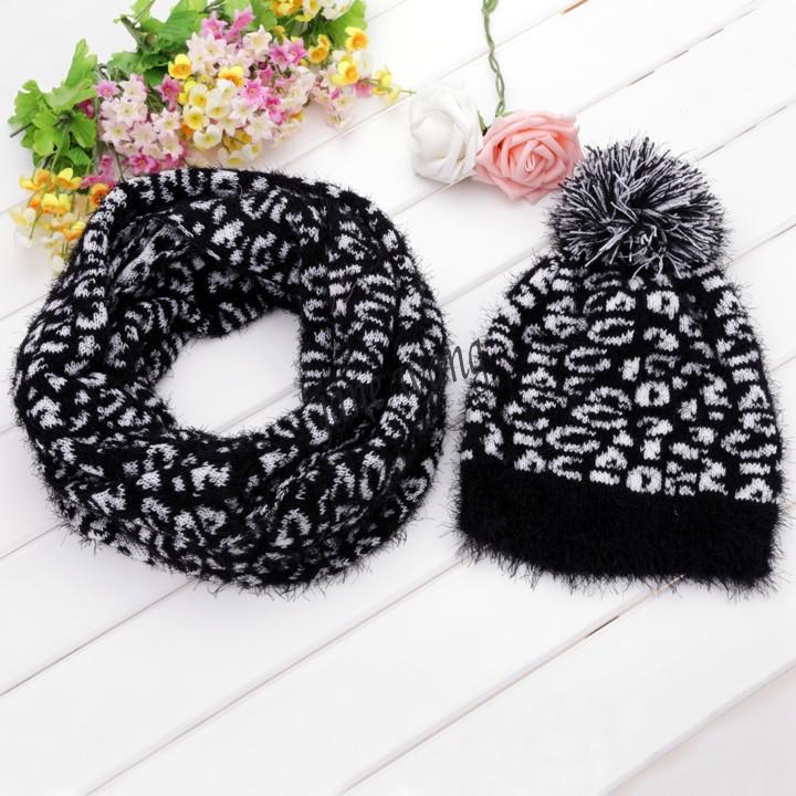 New Stylish Women Leopard Grain Pattern Knit Winter Warm Ski Skating Cap Hat + Scarf Set(China (Mainland))