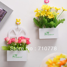 Artificial Flower Set With Vase Table Wall Home Decoration Flower Wood Vase Hanging Basket China