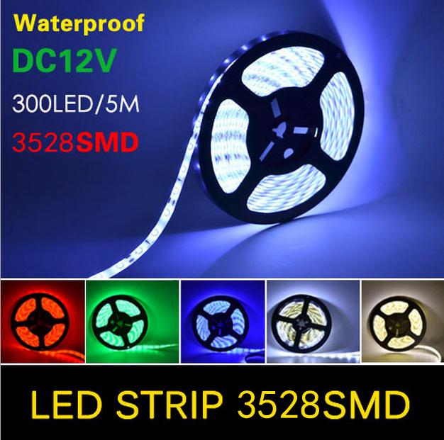 2016 DC12V SMD 2835 led strip flexible light 5m 10m 15m 20m 100m warm white/white/RGB Power plug 60leds/m waterproof led Strips(China (Mainland))