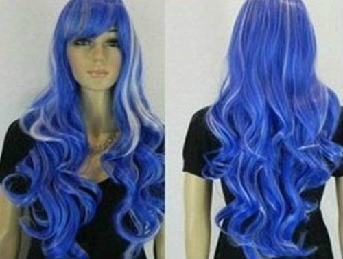 heat resistant Party hair Free shipping>>New Fashion Beautiful long white& blue mix wig(China (Mainland))