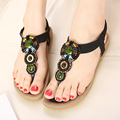 2016 New National Diamond Bohemian Flat Sandals Women Girls Beading Slippers Summer Sandals Ladies Flip Flop