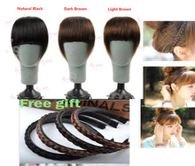 100% remy human hair extension clips in/on side edge long bangs hair 4 colors free shipping(China (Mainland))
