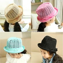 Fashion 2015 Solid Cotton Children Straw Fedoras Hat Colorful Baby Girls Summer Sun Hats Kids Jazz Cap Baby Boys/Girls Sun Hat (China (Mainland))