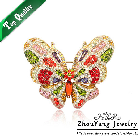 ZYX018 Colorful Butterfly Crystal Brooches Big Size 18K Champagne Gold Plated  Jewelry Austrian Crystal SWA Elements Wholesale<br><br>Aliexpress