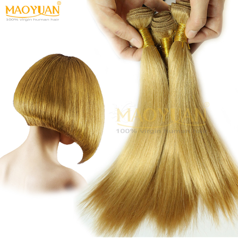 Brazilian Virgin Hair Straight Cheap Brazilian Hair Weave Bundles 6Pcs/Lot 7A Blonde Human Hair Extensions 10 inches 27# 40g/Pcs