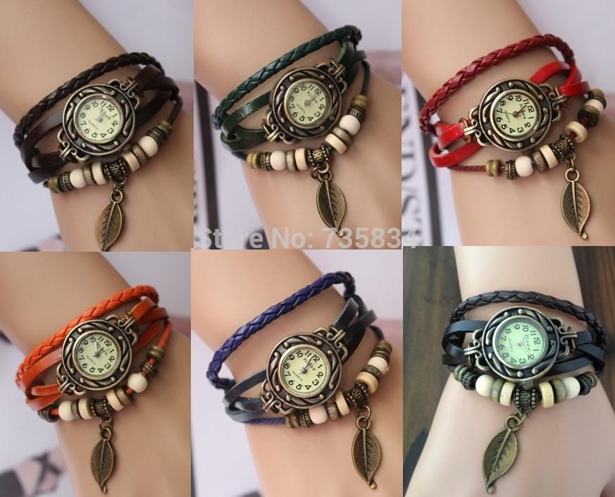 Wholesale 200pcs/lot Mix7colors Fashion Genuine Leather Vintage watch Wrist butterfly watches quartz Colorful Wristwatch LP033<br><br>Aliexpress