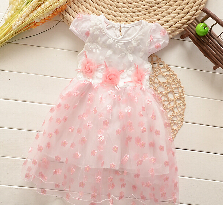 girl dress baby kids clothes 2015 new fashion high quality cotton children clothing girls Lace Flower princess dress(China (Mainland))