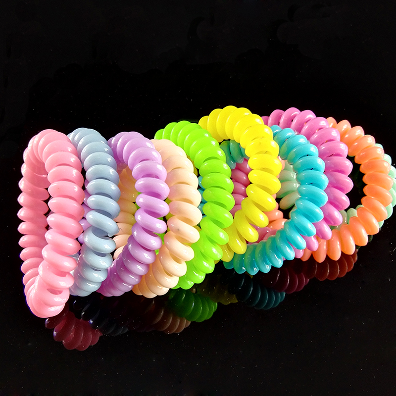 Magnetic Spiral Colorful transparent Plastic Hair Tie Telephone Line Shaped Elastic Hair Band(China (Mainland))