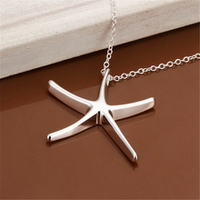 Buy new free silver plated necklace jewelry silver jewelry fashion cute Star Starfish pendant snake necklace hot for $1.02 in AliExpress store