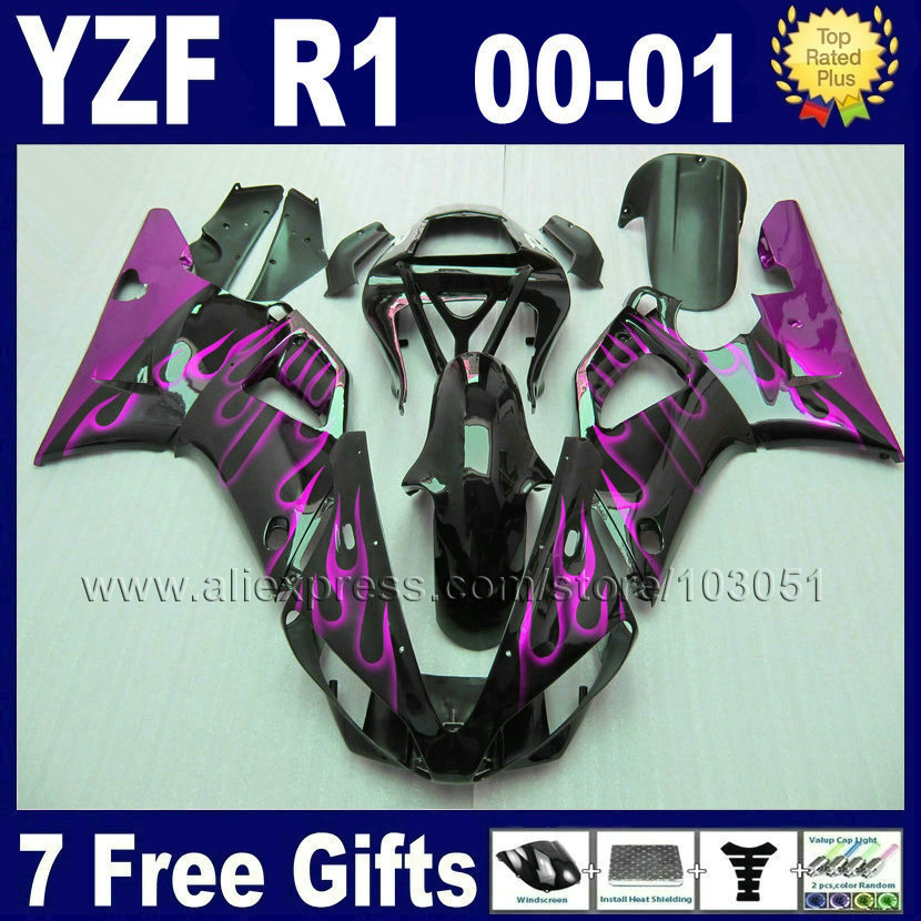 Custom fairing kits for 2000 2001 YAMAHA R1 00 01 YZF R1 fairings aftermarket YZF1000 little flame body repair parts(China (Mainland))