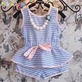 2 Piece 0 7Years 2016 Summer Children Clothes Casual Stripe Sleeveless T shirt Shorts Baby Girls