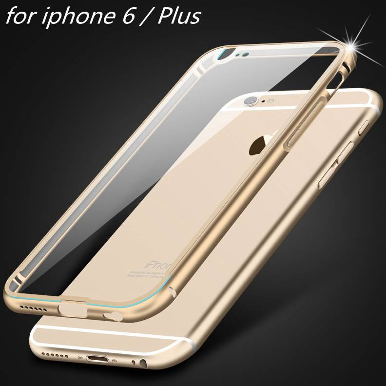 i6 / Plus! Ultra thin Aluminum Metal + Clear Hard Back Luxury Case for Apple iphone 6 4.7 /Plus 5.5 Transparent Protective Cover(China (Mainland))