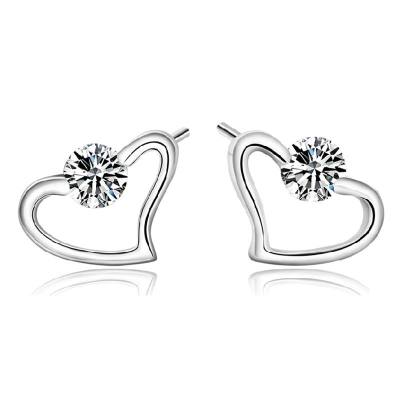 Hot Sale Korean Stud Heart Earrings 2015 New Fashion Jewelry Brand Ear Cuff Pendientes Crystal Diamond Brincos Earings For Women(China (Mainland))