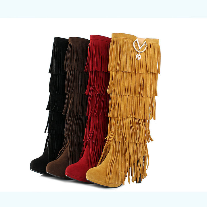 woman Elegant Fashion Boots Slip-On Spike Heels Round Toe High-heeled Tassel shoes ladies Knee-High sexy Fringed boots big size(China (Mainland))