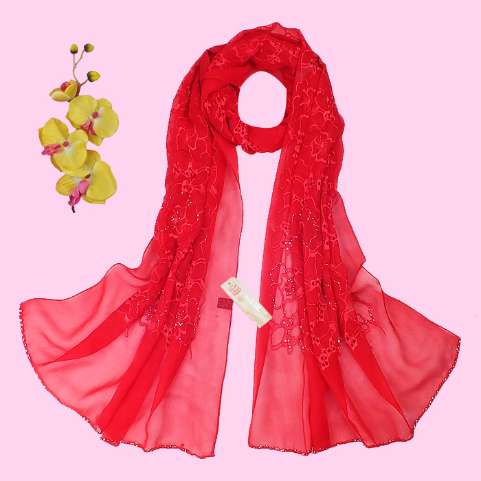 Red silk scarf spring and autumn female long design quality all-match cape mulberry silk shawl and scarves(China (Mainland))