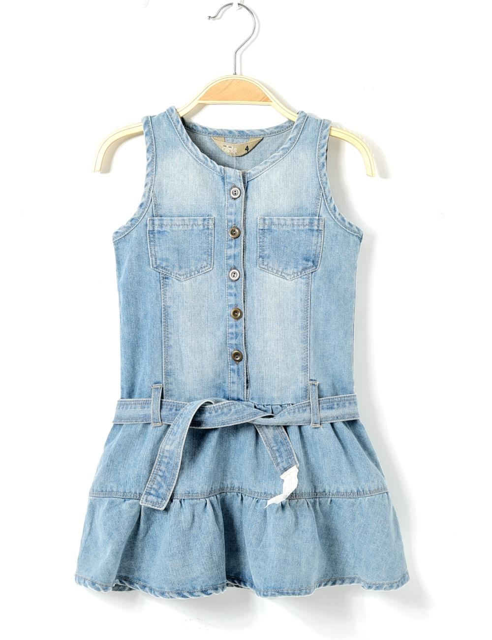 2016 spring summer brand style infant girl denim one-piece dress kids sleeveless catimini children jeans with belt 2 3 4 5 6 7T(China (Mainland))